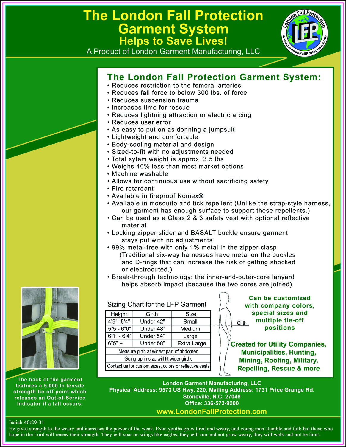 LONDON FALL PROTECTION FLYER BACK